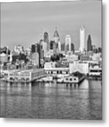 Philadelphia From The Waterfront In Black And White Metal Print