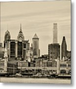 Philadelphia From The Waterfront In Sepia Metal Print