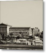 Philadelphia Museum Of Art And The Fairmount Waterworks From West River Drive In Black And White Metal Print