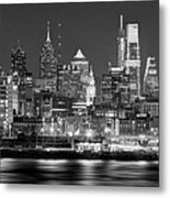 Philadelphia Philly Skyline At Night From East Black And White Bw Metal Print