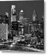 Philadelphia Skyline At Night Black And White Bw  Metal Print