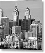 Philadelphia Skyline Black And White Bw Wide Pano Metal Print