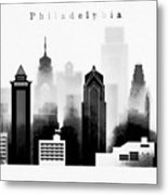 Philadelphia Skyline Graphic Work Metal Print