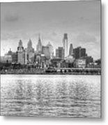 Philadelphia Skyline In Black And White Metal Print