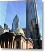 Philadelphia Street Level - Skyscrapers And Classical Building View Metal Print