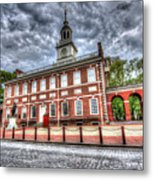Philadelphia's Independence Hall Under The Clouds Metal Print