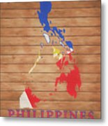 Philippines Rustic Map On Wood Metal Print