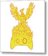 Phoenix Rising Fiery Flames Over Game Controller Drawing Metal Print