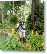 Photographer In The Jungle Metal Print