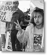 Photography Homage Alfred Eisenstadt Hispanic Girl V For Victory Sign Anti Gulf War Rally Tucson Az Metal Print