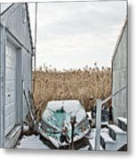 Photogrphic Illustration Of A Small Boat In New England Metal Print