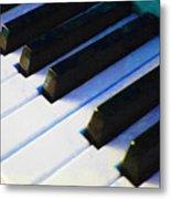Piano Keys . V2 . Blue Metal Print