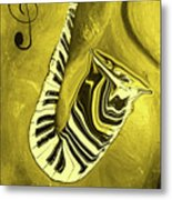 Piano Keys In A  Saxophone Golden - Music In Motion Metal Print