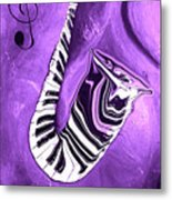 Piano Keys In A Saxophone Purple - Music In Motion Metal Print