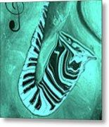 Piano Keys In A  Saxophone Teal Music In Motion Metal Print