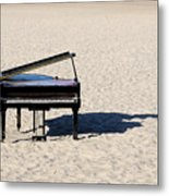 Piano On Beach Metal Print by Hans Joachim Breuer