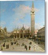 Piazza San Marco Looking Towards The Basilica Di San Marco  Metal Print