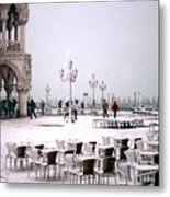 Piazzetta San Marco In Venice In The Snow Metal Print