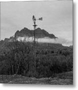 Picket Post Windmill Bw Metal Print
