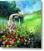 Picking Flower Metal Print