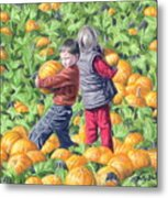 Picking Pumpkins Metal Print