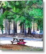 Picnic Area With Wooden Tables 3 Metal Print