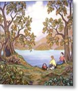 Picnic By A Lake Metal Print