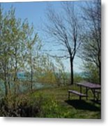 Picnic Table By The Lake Photo Metal Print