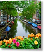 Picturesque View Amsterdam Holland Canal Flowers Metal Print