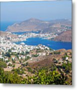 Picturesque View Of Skala Greece On Patmos Island Metal Print