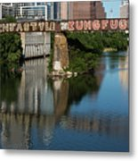 Picturesque View Of The Railroad Graffiti Bridge Over Lady Bird Lake As Canoes And Kayakers Paddle Under The Bridge On A Beautiful Summers Day Metal Print