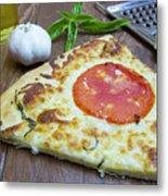 Piece Of Margarita Pizza With Ingredients Metal Print
