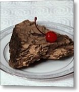Piece Of Pine Cake With Cherry. Metal Print