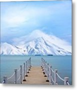 Pier And Mountain Metal Print