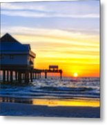 Pier  At Sunset Clearwater Beach Florida Metal Print