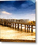 Pier At Sunset Oil Painting Photograph Metal Print