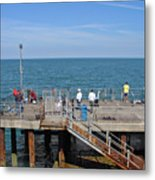 Pier Fishing At Llandudno Metal Print
