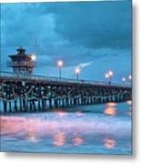 Pier In Blue Panorama Metal Print