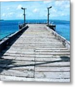 Pier Into The Blue Metal Print