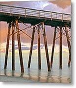 Pier On Beach During Sunrise, Playas De Metal Print