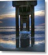 Pier View At Dawn Metal Print