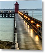 Pier With Lighthouse Metal Print