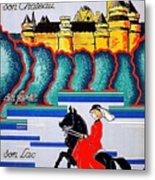 Pierrefonds Castle, Woman On Horse, France Metal Print