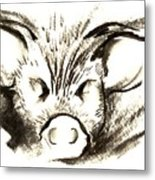 Pig Headed Metal Print