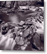 Pigeon Forge River Great Smoky Mountains Bw Metal Print