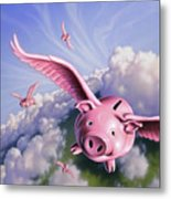 Pigs Away Metal Print
