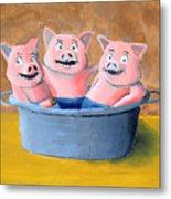 Pigs In A Tub Metal Print