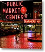 Pike Place Reflections Metal Print