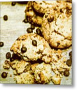 Pile Of Crumbled Chocolate Chip Cookies On Table Metal Print