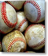 Pile Or Stack Of Baseballs For Playing Games Metal Print
